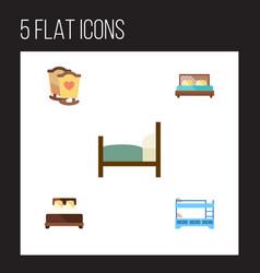 Flat bedroom set of mattress bed hostel and vector