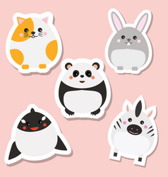 Cute kawaii animals stickers set vector