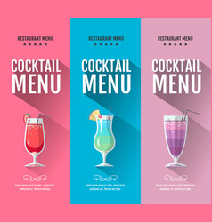flat cocktail menu design set of banners vector image