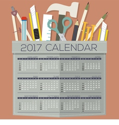2017 Printable Calendar 12 Months Starts Sunday vector image