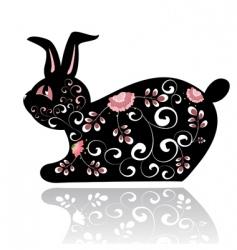 black rabbit vector image