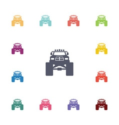 Monster car flat icons set vector