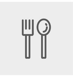 Spoon and fork thin line icon vector