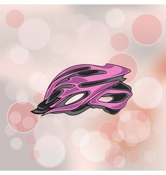 Pink bike helmet vector