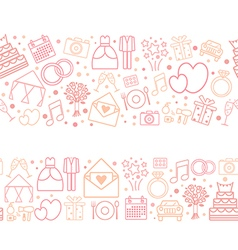 Seamless pattern borders of wedding icons vector