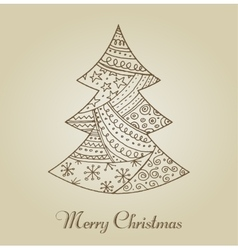 Hand drawn cute Christmas tree with doodles vector image