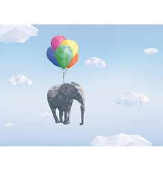 Low poly flying elephant vector