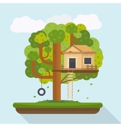Tree house house on tree for kids vector