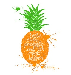 Isolated orange pineapple fruit silhouette vector