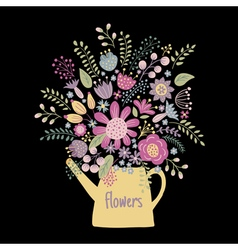 flower kettle on a dark background vector image