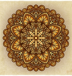 Golden floral ornament circular pattern old vector