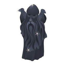 Totem slavic god grandfather with beard and crows vector