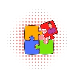 Businessman in a puzzle piece icon comics style vector