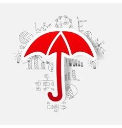Drawing business formulas umbrella vector
