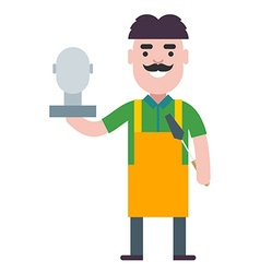 Sculptor at work with a human head figurine vector