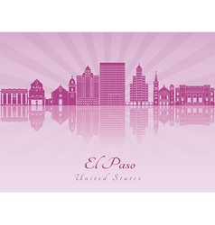 El Paso skyline in purple radiant orchid vector image