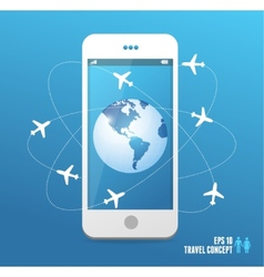Airplanes flying around the globe Phone concept vector image vector image
