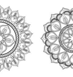Black and white mandale icon bohemic design vector