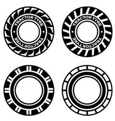 Black tractor tyre symbols vector