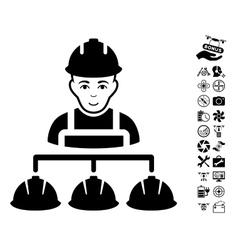 Builder management icon with air drone tools bonus vector