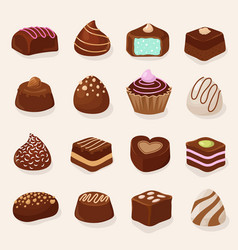 cartoon chocolate desserts and candies set vector image vector image