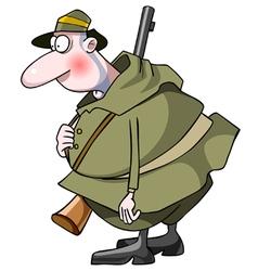Cartoon surprised man hunter with a gun vector