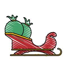 Colorful crayon silhouette of santa claus sleigh vector