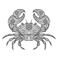 Crab zentangle icon hand drawn crab vector image