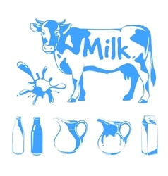 Elements for milk logos labels and emblems vector
