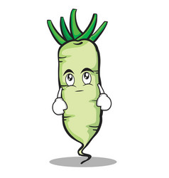 Eye roll white radish cartoon character vector
