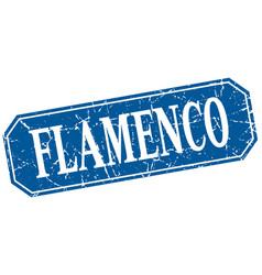 Flamenco blue square vintage grunge isolated sign vector
