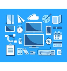 Flat design business icons vector image