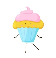 Funny fast food cupcake icon vector