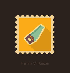 hand saw retro flat stamp with long shadow vector image
