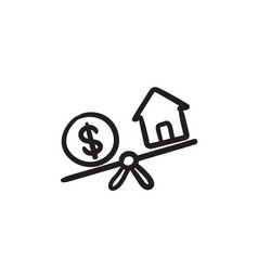 House and dollar symbol on scales sketch icon vector