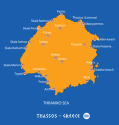 Island of thassos in greece orange map and blue vector
