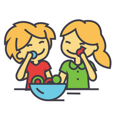 Kids eating candy concept line icon vector