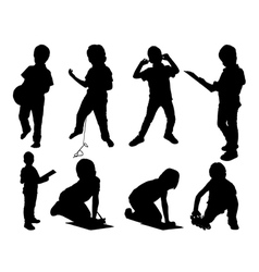Leisure child set silhouettes vector