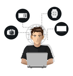 Man usign computer internet things icons vector