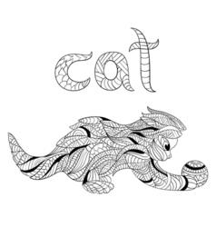 Monochrome hand drawn zentagle of cat coloring vector