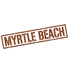 Myrtle beach brown square stamp vector