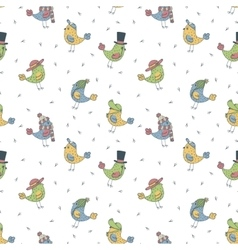 Pattern of 6 fanny birds in different hats vector