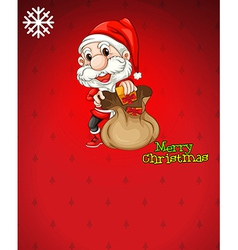 Santa with a brown bag full of gifts vector image