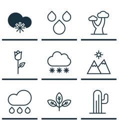 set of 9 landscape icons includes rain love vector image