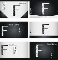 Set of black and silver business card with letter vector