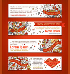 Set of horizontal love banners vector