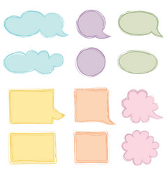 speech bubble set chat icon paper sheet for note vector image