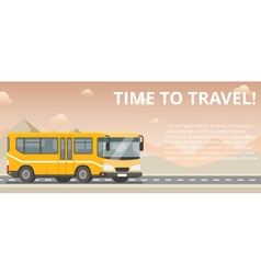 Time to travel flat yellow bus goes on the highway vector