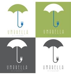 umbrella with fork design set vector image