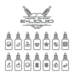 Vape shop e liquid flavors vector